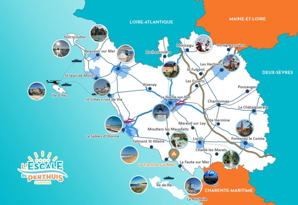 Carte de Vendée - camping 4 étoiles l'Escale du perthuis